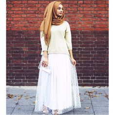A sneak peek from our upcoming collection: skirt DOUNIA worn by @hijabhills on Eid day  A crazy party white tutu with small eye catching golden details. Stay tuned for more gorgeous skirts!