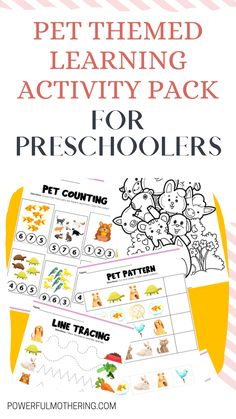 Looking for some fun educational activities for toddlers? This is for you! Check out these amazing animal worksheets for your little ones, to make learning extra fun! Check out the blog for more details on these Pet Themed Learning Activity Pack For Preschoolers! It comes with free printables too! Because who doesn't want some free educational worksheets and educational activities for their preschooler? This DIY craft is the perfect learning activity for your little one I promise!#printablecraft Educational Activities For Toddlers, Indoor Activities For Kids, Preschool Activities, Printable Crafts, Free Printables, Toddler Crafts, Crafts For Kids, Animal Worksheets, 3 Year Olds