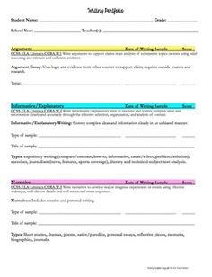 Writing portfolio criteria & score sheets - perfect for students to keep track of their writing samples.