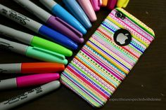 Phone Case design - use a hard white case and the full spectrum of sharpie colors. get full details here: http://expecttheunexpectedwithdenise.blogspot.co.il/2012/05/diy-tribal-print-iphone-case.html