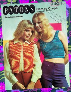 Items similar to Pdf Vintage Womens Ladies Knitting Crochet Pattern Waistcoat Tank Top LOOPY Bolero PATONS 2192 Psychedelic Boho Crop Hippy Groovy on Etsy Knitting Patterns, Crochet Patterns, Easy Knitting, Knitting Ideas, Vintage Knitting, Vintage Sewing, Hippie Chick, Retro Outfits, Hats For Women