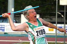 Sheila Champion Irish javelin thrower proving that sport is for life. #joyofsport