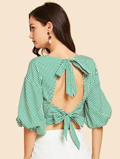 SheIn offers Tie Neck Striped Print Wrap Blouse & more to fit your fashionable needs. Crop Top Outfits, Casual Skirt Outfits, Girl Outfits, Fast Fashion, Fashion 2020, Fashion Online, Saree Blouse Designs, Blouse Styles, Bodysuit Fashion