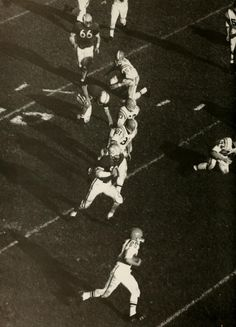"""Athena yearbook, 1960, pg. 60.  """"The Ohio University football team concluded its best season in twenty-one years when it finished with a fine 7-2 record, the best any Bobcat eleven has compiled since 1939."""" :: Ohio University Archives"""