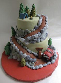 Mountain and jeep groom's cake