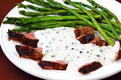 Flank steak with peppercorn cream sauce.