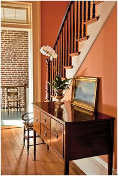 "hallway - William Gatewood House, Charleston, SC - wall color: ""Rhett Pumpkin"" #DCR021 from Duron Paints' ""Colors of Historic Charleston"" collection - photo by Rick McKee"