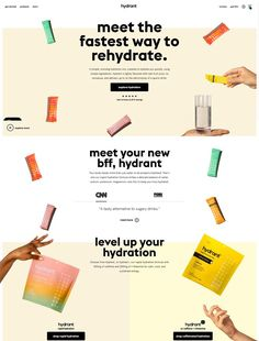 A simple, morning hydration mix, created to hydrate you quickly, using simple ingredients. Hydrant is lightly flavored with real fruit juice, no nonsense, and delivers up to 3x the electrolytes of a sports drink. Website Layout, Web Layout, Layout Design, Website Ideas, Design Web, Graphic Design, Banner Design Inspiration, Website Design Inspiration, Ecommerce Website Design