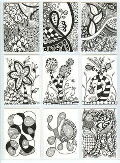Nine of eighteen Zentangle ATCs ready to be sent out for a mid-November ATC swap www.TangleTangleTangle.com