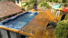 swim spa in deck Jacuzzi, Backyard Landscaping, Gazebo, Photo Galleries, Spa, Deck, Swimming, Cottage, Australia