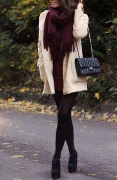 Try a dress with ankle books and tights or leggings to keep you warm.