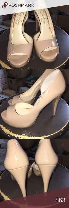 "Jessica Simpson Cian platform pump. Jessica Simpson Cian platform pump. Color Nude. Size 8.5M. Approx 4.25"" heel. Just shoes no original box. Jessica Simpson Shoes Platforms"