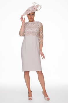 Short Dress With Guipure Top | Joyce Young