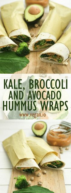 Kale, Broccoli and Avocado Hummus Wraps | Vegan.io | The easist way to follow a vegan diet