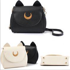 5df196b80 Fashion Ladies Cat Ear Sailor Moon Shoulder Bag Cosplay Leather Handbag  Black Wo