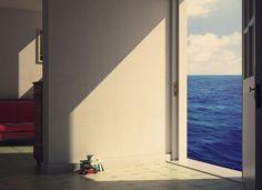 """ROOMS BY THE SEA"" Edward Hopper, 1951, 3D salvatore millitari"