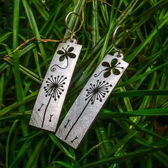 The Official Hairy Growler Jewellery Co. Cambridge - handcrafted and recycled spoon butterfly and dandelion clock earrings