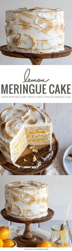 Lemon Meringue Cake   with lemon curd and toasted meringue frosting    by Tessa Huff for TheCakeBlog.com