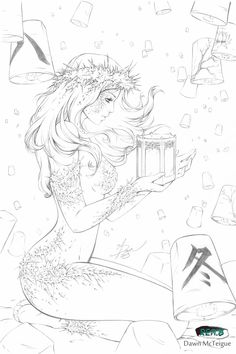 Holiday Winter Cover 1 by Dawn-McTeigue on DeviantArt Coloring Pages For Girls, Coloring Book Pages, Angel And Devil, Tips & Tricks, Wow Art, Cool Drawings, Drawing Faces, Line Art, Character Art