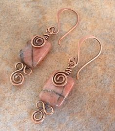 Earrings of semi precious stone and copper wire.