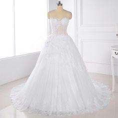 Fashion White Hand-beaded Wedding Dresses A-line Off Shoulder