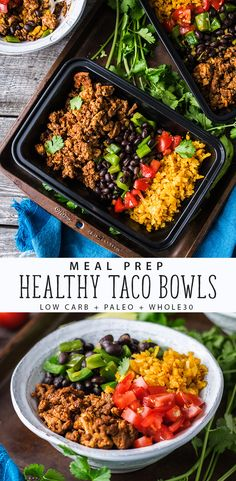 Meal Prep these Healthy Taco Bowls made by The Hungry Waitress. This easy meal prep recipe Low-Carb, Paleo, and Whole30 approved! #recipes #whole30 #MealPrep #Lowcarb