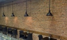 Cafe renovation using Smoked Peach brick slips Tiles Uk, Brick Tiles, Stone Cladding, Wall Cladding, Retro Furniture, Industrial Furniture, Vintage Industrial Lighting, Peterborough, Restaurants
