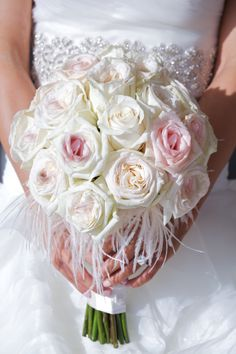 Blush and Ivory Roses and Feathers Bridal Bouquet by Tustin Florist