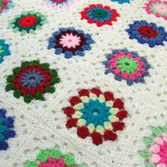 PDF Crochet Pattern - Field of Flowers Granny Square