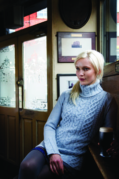 Wool cashmere turtle neck cabled sweater designed by Mary Donoghue for Irelands Eye Knitwear