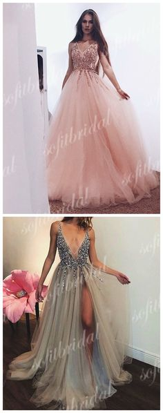 Popular V-neck Sequin Beaded Long A-line Tulle Prom Dresses, Cheap Prom Dresses, PD0366 #promdresses