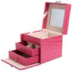 Fancy PU Leather Trilaminar Dressing Case Cosmetic Box Jewelry Box with Key Lock - Pink