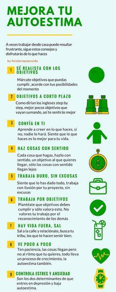 9 puntos para mejorar la autoestima. || #infografias #psicologia #motivacion