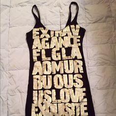 Express mini dress or long tank Black, fun graphic print mini dress or long tank w leggings. Like new. Express Dresses Mini