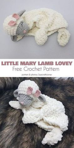 Free Knitting Pattern for Baby Hat – Little Mary Lamb Lovey Knit Free Crochet Pattern – Sewing Patterns # Crochet Pattern # Free Baby. Crochet Pattern Free, Crochet Gratis, Crochet Patterns Amigurumi, Knitting Patterns, Sewing Patterns, Crochet Mittens, Crochet Patterns For Baby, Free Knitting, Crochet Ideas