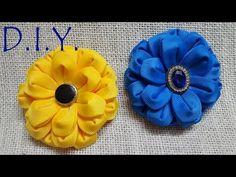 D.I.Y. New Grosgrain Kanzashi Zennia Flower   MyInDulzens - YouTube