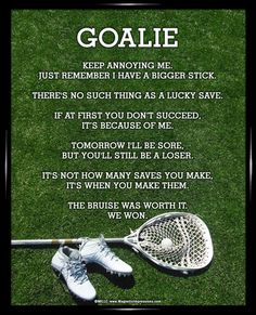 """Stay motivated with Lacrosse Goalie Cleats Poster Print. Funny sayings like, """"There's no such thing as a lucky save,"""" will inspire lacrosse goalies to stay at the top of their game. A lacrosse poster Lacrosse Memes, Lacrosse Gear, Lacrosse Uniforms, Goalie Gear, Women's Lacrosse, Soccer Memes, Goalie Quotes, Sport Quotes, Softball Quotes"""