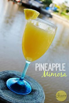 Make a fun brunch cocktail! This pineapple mimosa combines fresh fruit and pineapple juice with a bit of bubbly! Cheers!