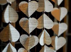 vintage book heart garlands, via Etsy  #Valentine's
