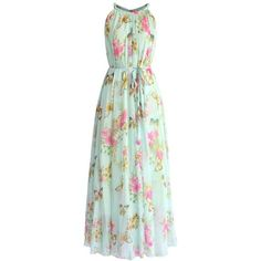 Chicwish Serene Belle Floral Maxi Slip Dress ($62) ❤ liked on Polyvore featuring dresses, blue, blue dress, maxi dresses, chiffon dress, green dress and green floral dress