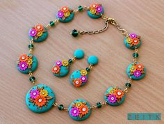 polymer clay necklace by zeitx Polymer Clay Embroidery, Polymer Clay Crafts, Diy Clay, Biscuit, Rakhi Design, Thread Jewellery, Polymer Clay Necklace, Clay Creations, Necklace Set