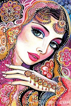 giclee: indian bride art beautiful Indian woman by EvitaWorks