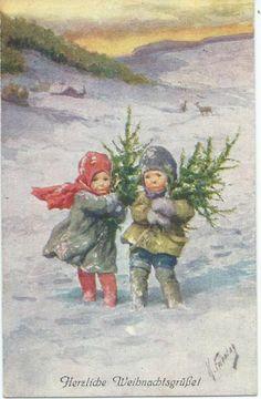 K Feiertag Little Ones Carry Xmas Trees Through The Snow | eBay