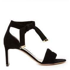 Nicholas Kirkwood Ziggy quilted-strap suede sandals (24 050 UAH) ❤ liked on Polyvore featuring shoes, sandals, black, black suede sandals, suede shoes, black sandals, ankle wrap sandals and evening shoes