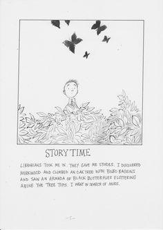 Chris Riddell's love letter to libraries. http://www.theguardian.com/books/booksblog/gallery/2014/nov/26/-sp-love-letters-to-libraries-chris-riddell