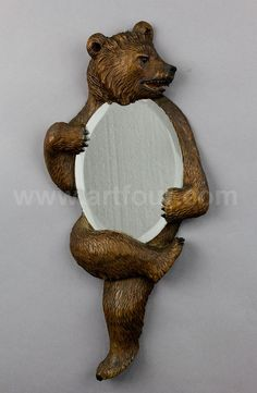 carved wood bear mirror 1900