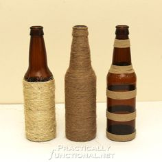 Twine Wrapped Bottles | 24 Creative Uses for Beer Bottles