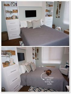Gender Neutral Baby Nursery for the Minimalist! Featuring a great space saver Wall Unit with Murphy Bed From Costco!
