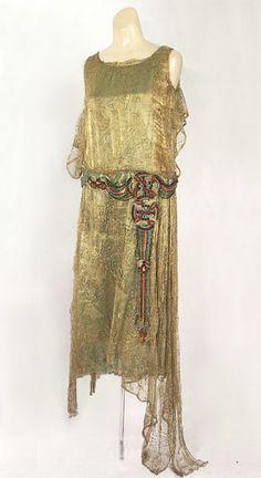 Gold metallic lace over lamé evening dress, c.1925, from the Vintage Textile archives. @Deidré Wallace