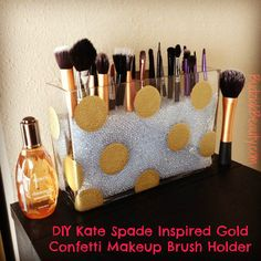 DIY Kate Spade inspired Gold Polka Dot Makeup Brush Holder